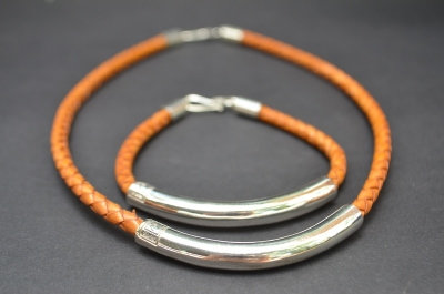 Natural Brown Sterling SIlver Tube Gift Set