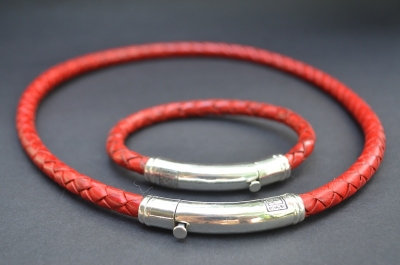 Red Sterling SIlver Thick Tube Set