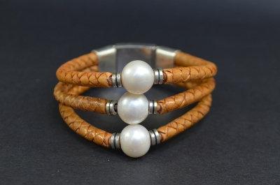 Triple Pearl Sterling Silver Bracelet