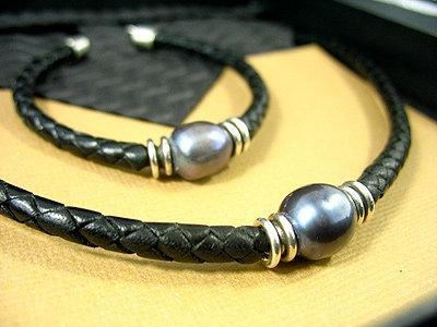 Black Pearl Necklace, Bracelet Gift Set, Black