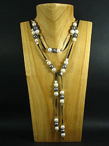 Black Elegant Lariat with 57 Fresh Water Pearls
