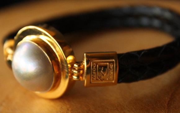 Gold plaited White South Sea Pearl Bracelet