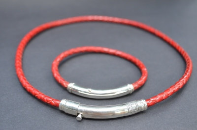 Red Sterling SIlver Thin Tube Gift Set