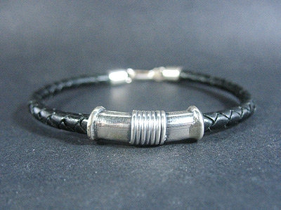 Ornamated Silver Tube Bracelet