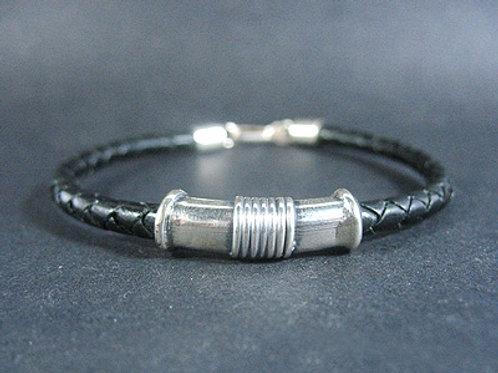 Ornamated Silver Tube Bracelet