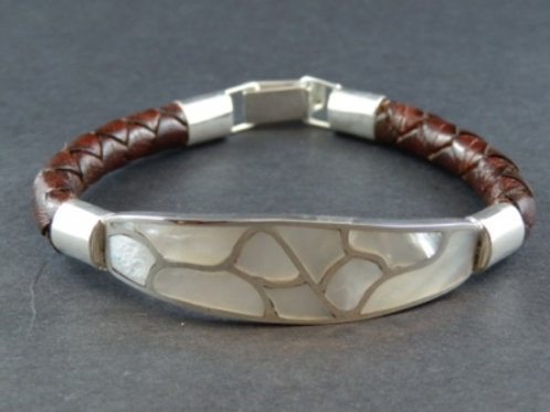 Mother of Pearl plaited Leather bracelet