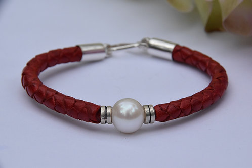 White Pearl Bracelet with Sterling Silver Endings
