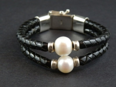 Double White Fresh Water Pearl Bracelet