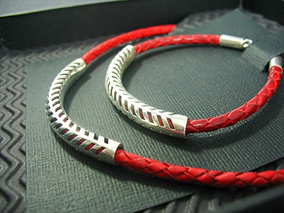 Red plaited Necklace and matching Bracelet