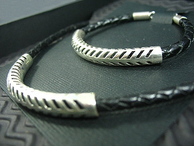 Black plaited Necklace and matching Bracelet