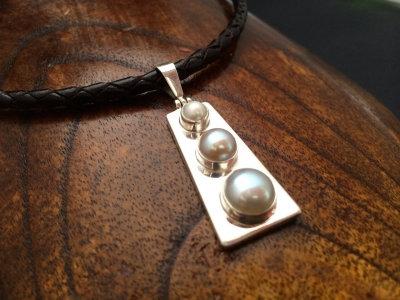 Triple White Pearl Pendant Necklace
