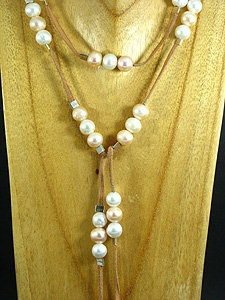 Natural Brown Elegant Lariat with 57 Pearls