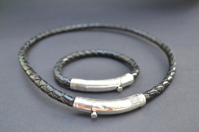 Black Sterling SIlver Thick Tube Set