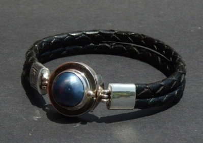 Silvery Blue Mabe Pearl set in Sterling Silver