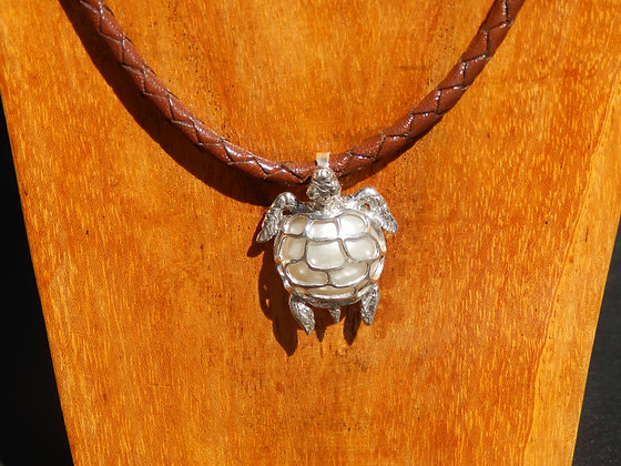 White Mabe Pearl Turtle in Silver Necklace