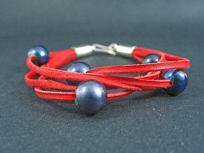 Five Black Fresh Water Pearl Lace Bracelet