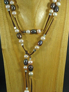Brown Elegant Lariat with 57 Fresh Water Pearls