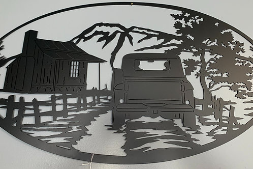 Mountain Cabin Scene