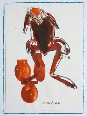 Vasenhase I Kohle, Tusche I 90x 70 cm