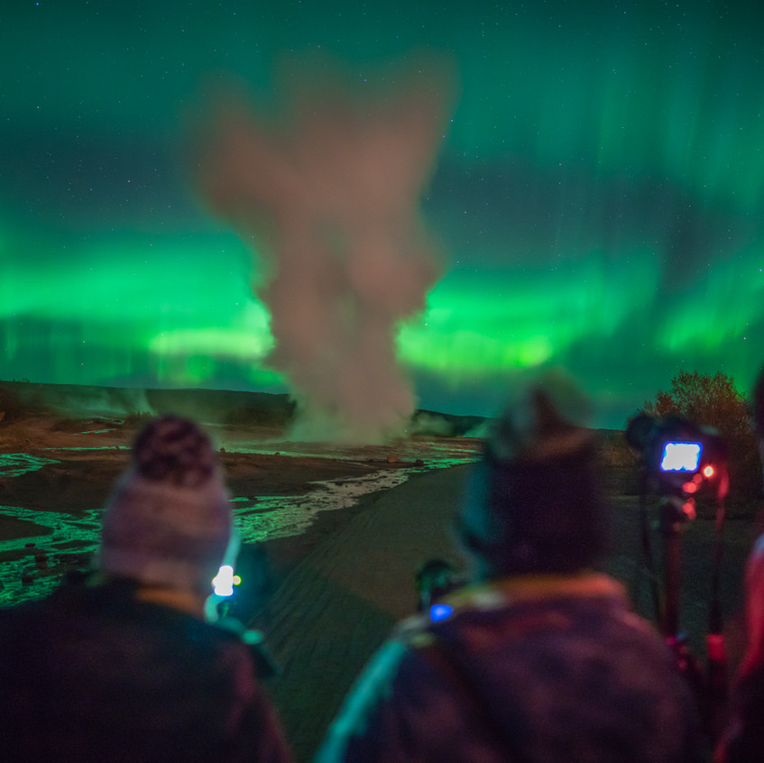 Students shooting erupting Geyser