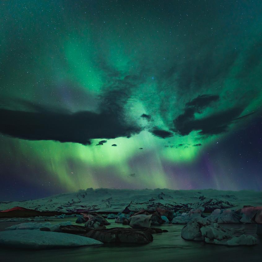 Aurora above Glacier Lagoon