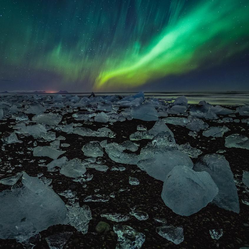Aurora on Ice Beach