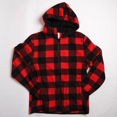 Hooded Buffalo Plaid Fleece Sweater