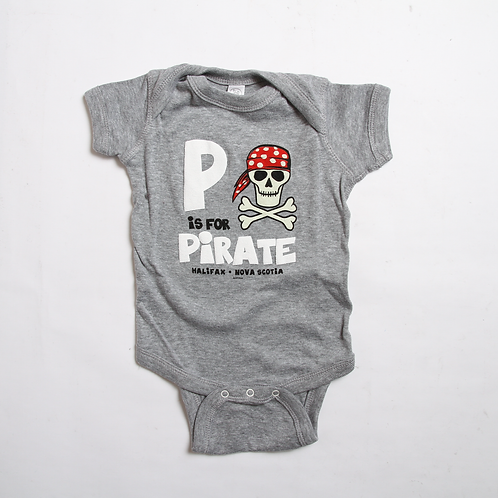 P is for Pirate Grey Onesie