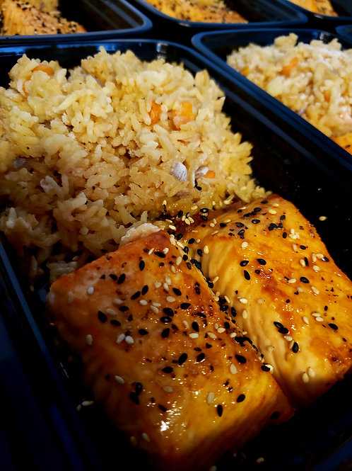 Teriyaki Salmon with Fried Rice