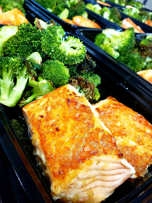 Honey-Garlic Salmon with Roasted Broccoli