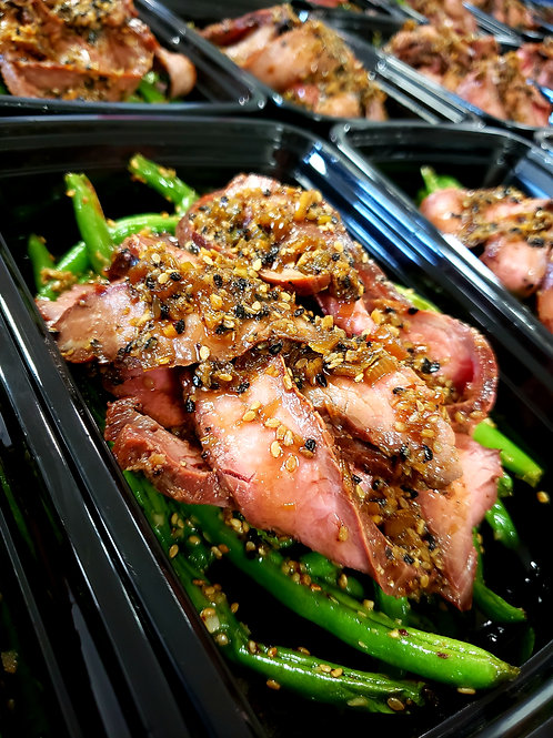 Bolgogi Style Flank Steak with Sesame Green Beans