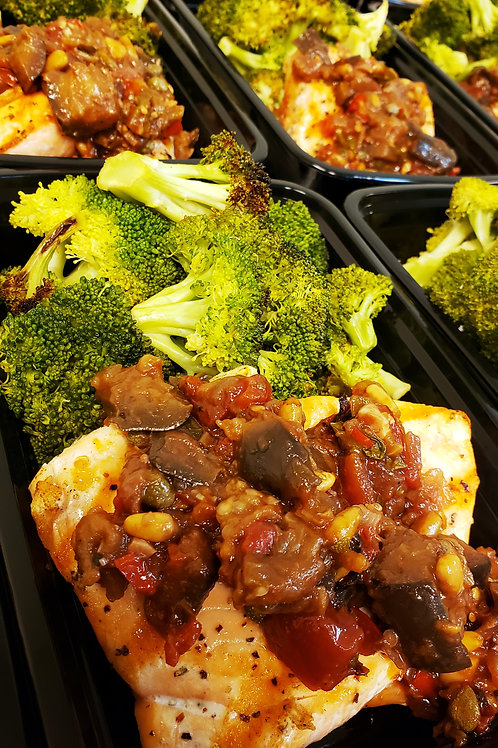 Grilled Salmon w/ Eggplant Caponata & Roasted Broccoli
