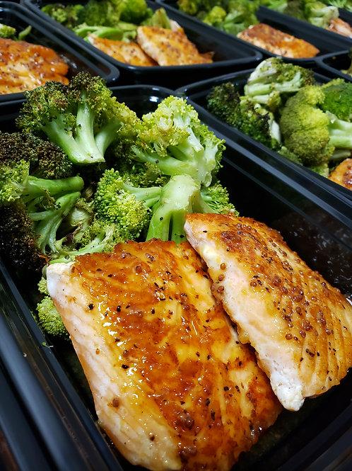 Maple-Mustard Glazed Salmon w/ Roasted Broccoli