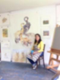 Kate Wyatt Artist in her studio