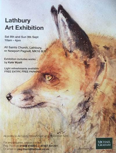 My last big exhibition of this year so hoping loads of you will come. It's the biggest selection of my work which has been on show outside my studio and is in a beautiful English village chuch well worth the visit as there are also medieval wall paintings and gorgeous architecture to see.