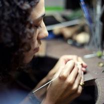 Melanie E _Tutor at her Jewellery Bench.