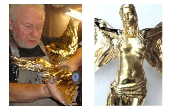 Kate Moss statuette being polished by Stephen M Goldsmith
