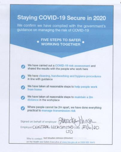 Covid Secure Compliance Form June 2020.j