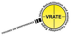 "VRATE 2021 Logo. A picture of a magnifying glass with the words ""Focused on independence"" on the handle, the words ""Vision Rehabilitation and Assistive Technology Expo"" circling the lens, and the letters ""VRATE"" in the center of the lens"