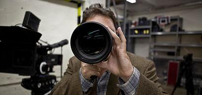 Cody Duckwort with director's viewfinder