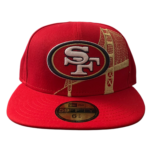 49ers - Red Golden Gate Bridge - Fitted Hat