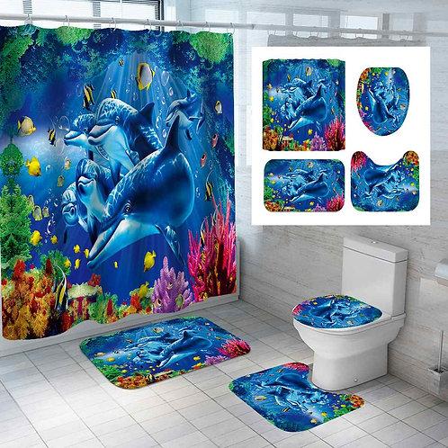 3D Dolphin Bathroom Set