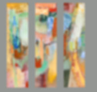 Ross Lake Triptych  3- 48%22 x 12%22 acr