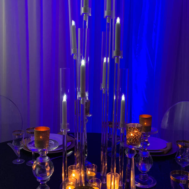 Acrylic candelabra electronic candles not included