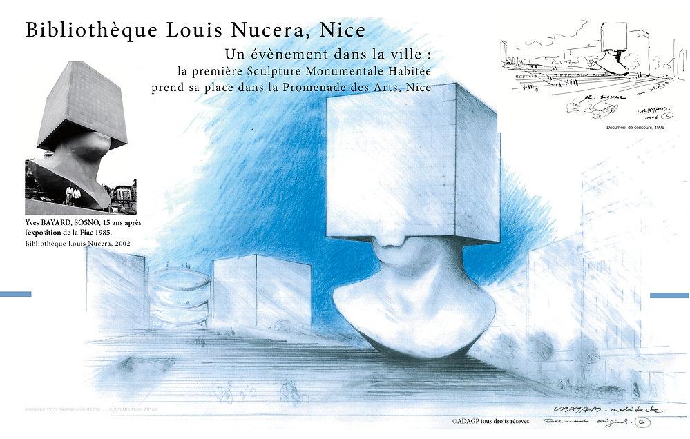 Yves Bayard Architecte DPLG ©Adagp dessin original de la Bibliothèque Louis Nucéra, unique sculpture monumentale habitée ©