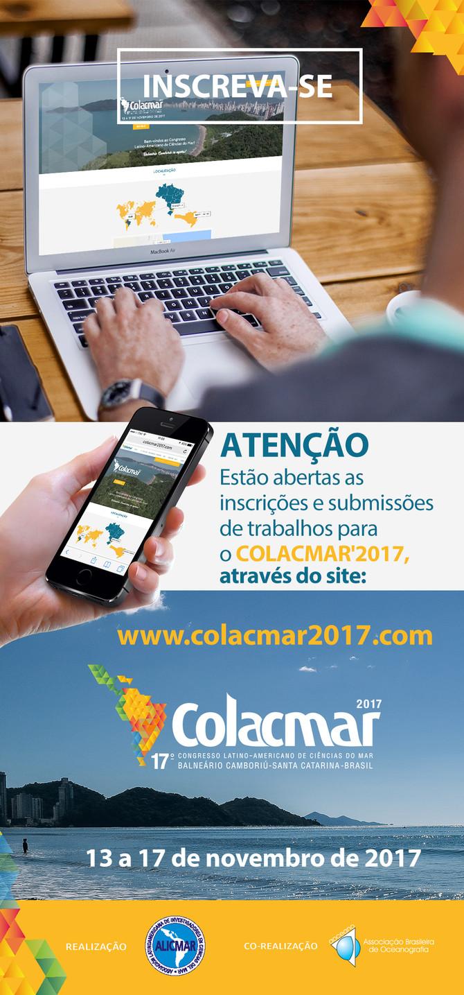 ESTÃO ABERTAS AS INSCRIÇÕES PARA O 17º CONGRESSO LATINO-AMERICANO DE CIÊNCIAS DO MAR - COLACMAR'