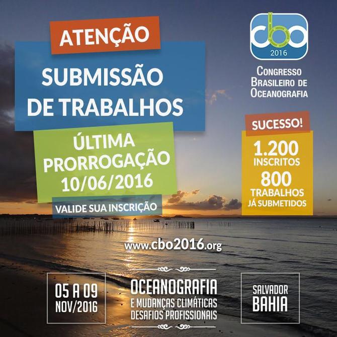 NOVO PRAZO PARA SUBMISSÃO DE RESUMOS AO CONGRESSO BRASILEIRO DE OCEANOGRAFIA - CBO'2016