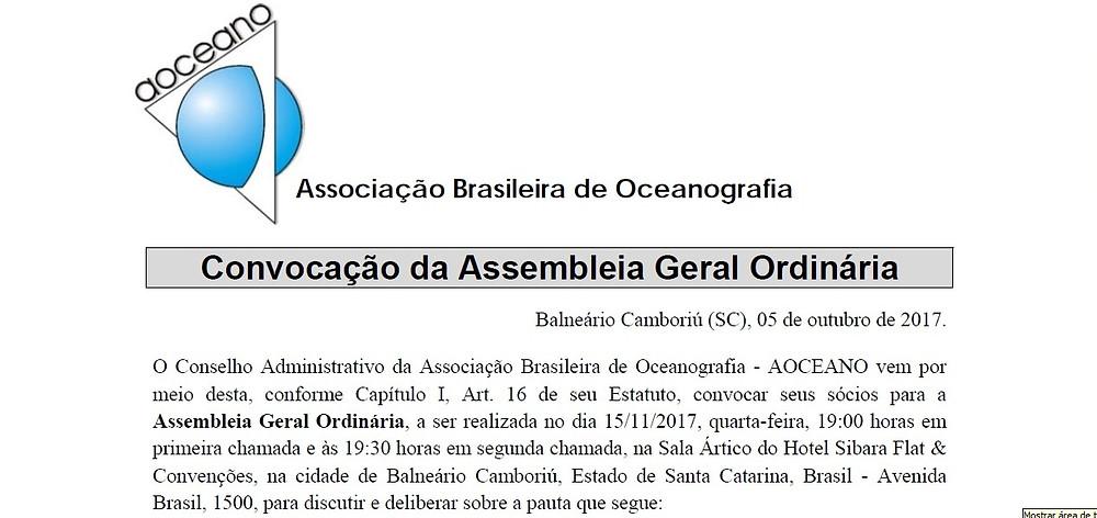 Convocação da Assembleia Geral Ordinária da AOCEANO