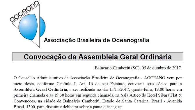 CONVOCAÇÃO DA ASSEMBLEIA GERAL ORDINÁRIA DA ASSOCIAÇÃO BRASILEIRA DE OCEANOGRAFIA - AOCEANO