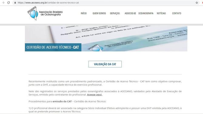 ASSOCIAÇÃO BRASILEIRA DE OCEANOGRAFIA - AOCEANO ALCANÇA UM IMPORTANTE MARCO COM A EMISSÃO DA CENTÉSI
